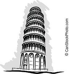 torre, vettore, sporgente, pisa, schizzo