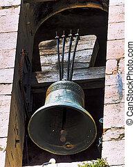 torre, viejo, campana
