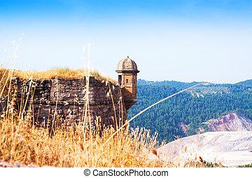 torre vigia, em, medieval, castelo