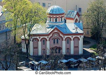 torre, vista, viejo, vilnius, iglesia