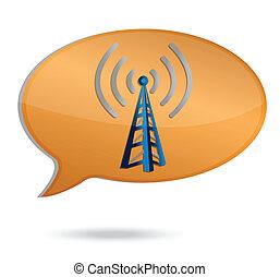 torre, wifi, bolla, illustrazione
