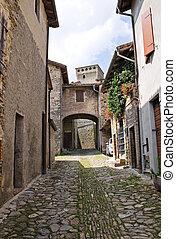 torrechiara., italy., emilia-romagna., alleyway.