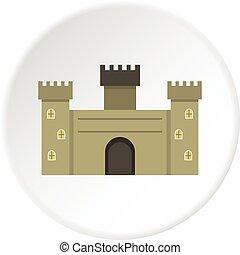 torreggiare, cerchio, vecchio, fortezza, icona