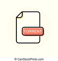 TORRENT file format, extension color line icon. Vector...