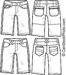 torrero, moda, senhora, shorts