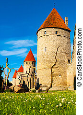 torres, cidade, tallinn, parede