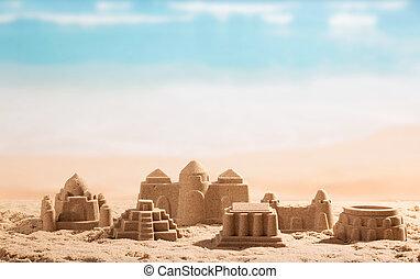 torres, coliseum, castelos, areia, sea., fundo