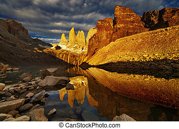 Torres del paine at sunrise - Towers with reflection at...