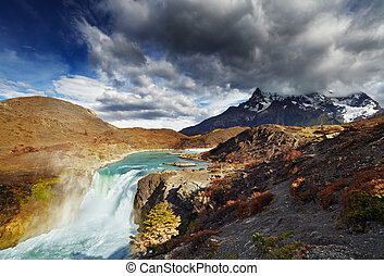 Torres del Paine, Chile - Waterfall in Torres del Paine...