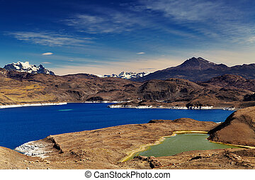 Torres del Paine, Patagonia, Chile - Sarmiento lake, Torres...