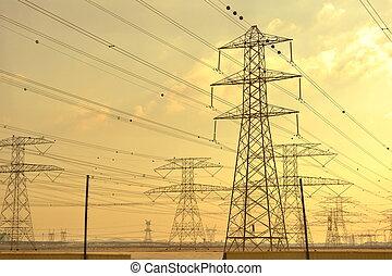 torres, elétrico, linhas, poder