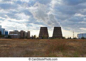 torres, energia, estação, esfriando