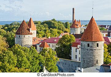 torres, fortificação, antigas, tallinn