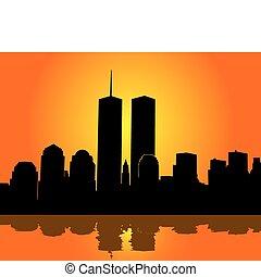 torres, gemelos, cielo, contra, naranja