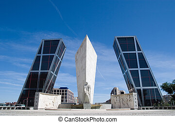 Plaza de Castilla - Torres Kio in Madrid, Spain - Plaza de...