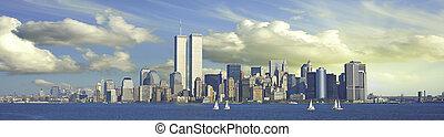 torres, panorámico, gemelo, york, nuevo, vista