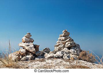 torres, pedra, dois
