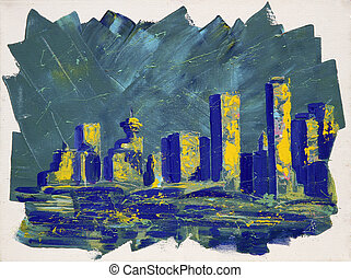 torres, pintura, resumen, vancouver