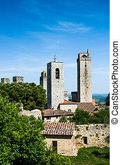 torres, señal, toscana, san gimignano
