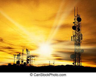 torres, sol, rádio