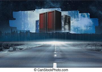 torres, tela, mostrando, servidor