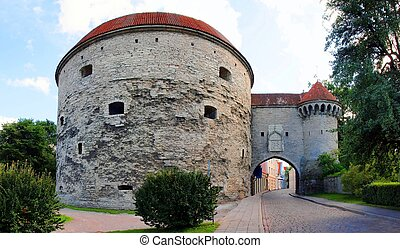 torres, wall., medieval, -, parte, cidade, tallinn