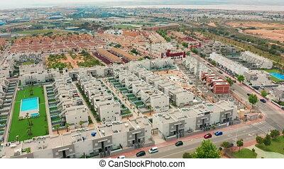 torrevieja., costa, contruction, aérien, bâtiments., blanca, secteur, alicante, nouveau, vue., espagne