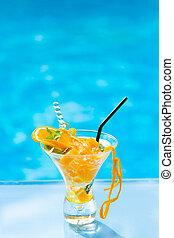 torsade, orange, mojito, cocktail, frais