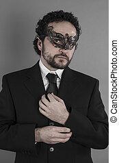 torse, sexy, et, mystérieux, homme affaires, à, masque