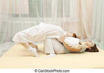 torsión, espalda, ejercicio
