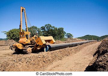 torsión, máquina de construcción, tubos, tubería