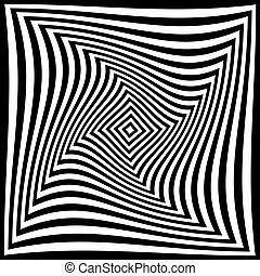 torsion illusion pattern, optical geometric design, black...