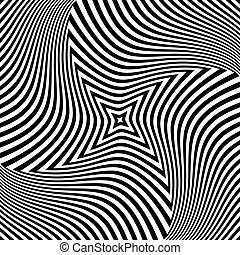 Torsion rotation movement. Abstract op art design. Vector...