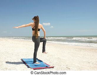 torsione, yoga, fornito gambe, uno