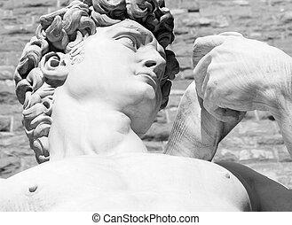 torso, estátua, david
