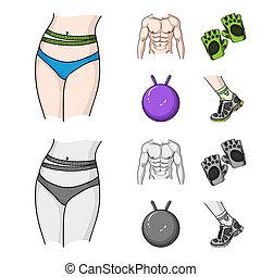 torso, estilo, jogo, ginástico, fitnes, símbolo, homens, web., ilustração, bitmap, caricatura, pular, cobrança, sneakers., ícones, bola, luvas, estoque