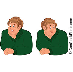 torso, feliz, suéter, homem, verde, caricatura