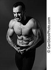 torso., gritando, muscular, homem