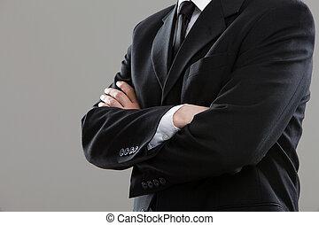 torso, hombre de negocios, traje
