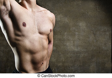 torso, imagen, primer plano, joven