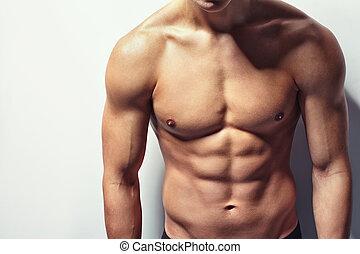 torso, jovem, muscular, homem