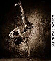 torso, movimientos, acrobático, toned, joven, imagen, ...