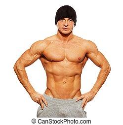 torso, muscular, posar, beanie, hombre, guapo, sombrero