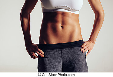 Torso of a female fitness model - Mid section of fit woman's...
