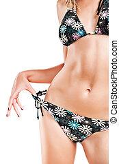 torso of beautiful female wearing in swimsuit
