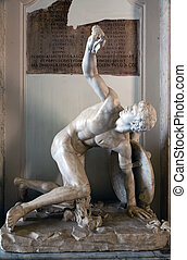 Torso of Discobolus restored as wounded warrior