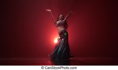 Torso of woman belly dancer dancing belly movement modern ....