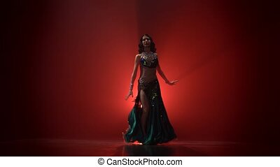 Torso of woman belly dancer dancing . Red smoke background -...