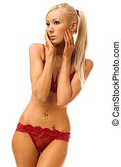Torso portrait of the beautiful woman in red underwear