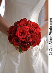 torso, segurando, rosas, buquet, vermelho, noiva
